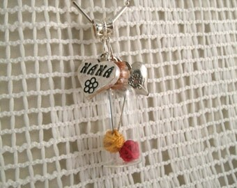 Knitting Nana Necklace Glass Vial Charm Necklace with Tiny Knitting Needles and Heart charms
