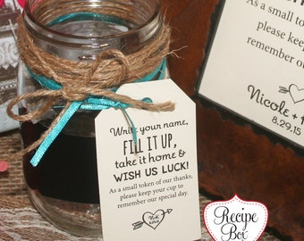 Mini Wedding Favors Mason Jar wedding Favor Tags, Wedding Favors, Fill it up take it home and wish us luck Pick 40-200 No Jar No Frame