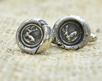 Silver Deer Cuff Links - Stag  Antique Wax Seal