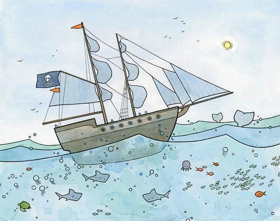 Pirate Ship Ocean Animals, boys room art print 11x14