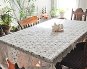 Vintage Beautiful Crochet Pattern Swirl Table Cloth Coverlet