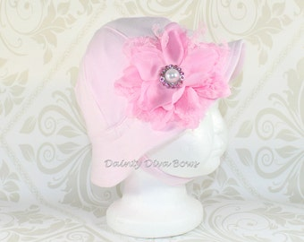INFANT Soft Cotton Sunhat, Girls Pink Sunhat with Pink Vintage Lace Flower, Beach Hat, Baby Hat, Summer Hat, Hat with Chin Strap