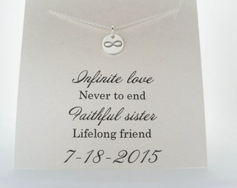Sister of the Bride Gift - Maid of Honor Necklace, Wedding Gifts, Bridesmaid Gift, Infinity Necklace, Sterling Silver, Sister Gifts, SC1