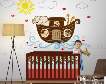 Kids nursery - Noahs Ark, animal, elephant, giraffe, ship, monkey Wall decal Wall Sticker
