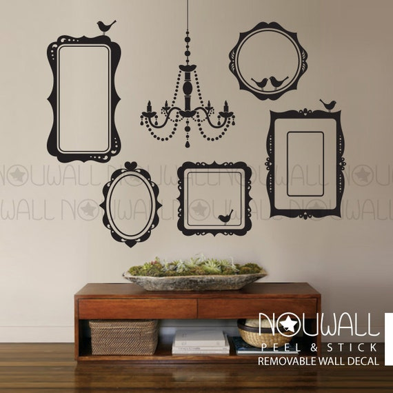 Items Similar To Photo Frames Wall Decal Elegant Chandelier Wall Sticker  Living Room Wall Decals Wallpaper On Etsy