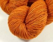 Hand Dyed Yarn - Sock Weight Superwash Merino Wool Singles Yarn - Copper - Knitting Yarn, Sock Yarn, Single Ply Yarn, Wool Yarn, Orange