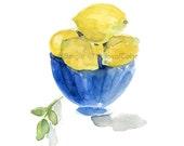 Lemons in Blue bowl art print/ still life/ watercolor print/ kitchen art/ lemons art print/ Blue/ Lemon Yellow/ Mediterranean