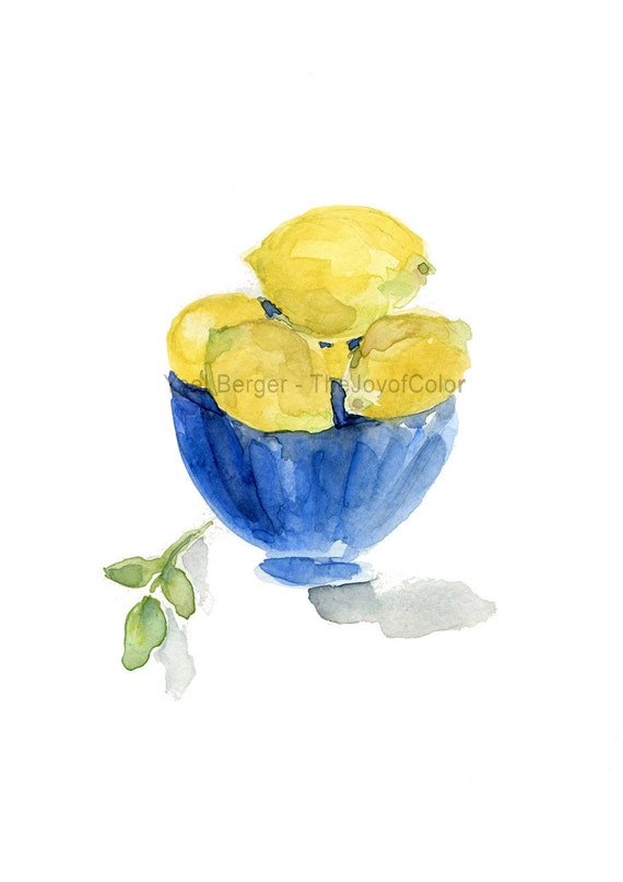 Lemons in Blue bowl art print/ still life/ watercolor print/ kitchen art/ lemons art print/ Blue/ Lemon Yellow/ Mediterranean