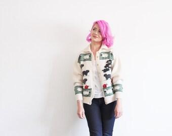 bulky lamb apple orchard cardigan . farm animal scene sweater .medium.large .sale