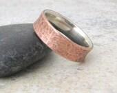 Copper Wedding Band Rustic Wedding Ring Silver Liner Mens Wedding Rings Wedding Bands- Relic Artifact