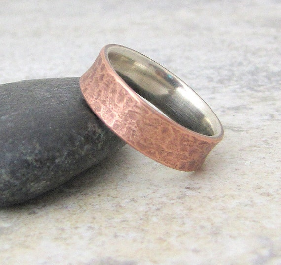 Copper Wedding Band Rustic Wedding Ring Silver Liner Mens