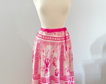 Vintage Pink Skirt - 50s style Ethnic Print Sm - on sale