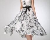 Grey chiffon dress print dress women prom dress (1249)