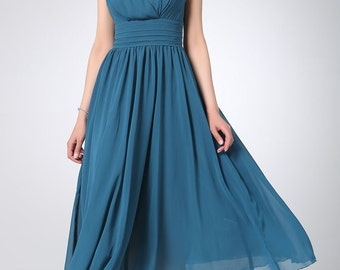 designer dress,Blue chiffon dress maxi dress women long dress prom dress (1213)