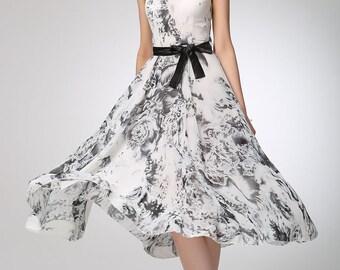 grey dress, chiffon dress, party dress, prom dress, evening dress, elegant dress, handmade dress, fitted waist dress, gift (1249)
