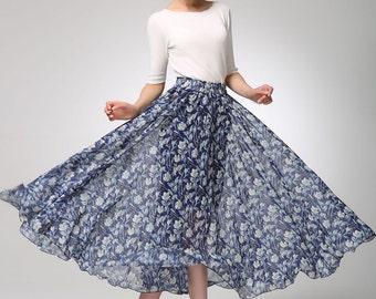 maxi skirt, floral skirt, elastic waist skirt, chiffon skirt, womens skirts, boho skirt, beach skirt, swing skirt, plus size skirt  (1273)