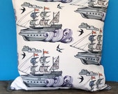 Sea, Ships and Swallows Cushion Cover / Nautical Cushion Cover / Nautical Pillow Cover / Ships Cushion Cover / NOW on SALE
