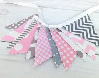 Bunting Banner Mini, Fabric Banner, Fabric Flags, Girl Baby Nursery Decor, Birthday Decoration - Baby Pink and Gray Chevron Dots Stripes
