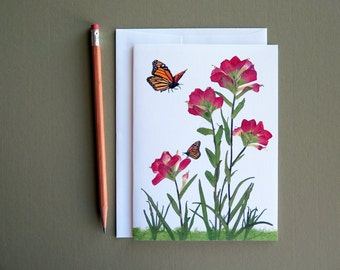 Indian Paintbrush wildflowers, Monarch butterfly, Texas wildflowers, greeting card no.1006