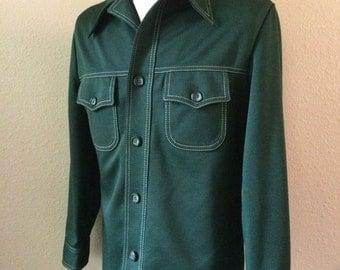 Vintage Men's 70's Haggar Jacket, Dark Green, Polyester, Button Up (M)