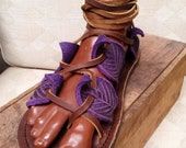 Gladiator Leaf Sandals in Purple / Handmade Leather Sandal Flats Lace Up Straps Greek Medieval Renaissance Faerie Fairy Faerie LARP