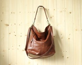 Large shoulder bag - large cross body bag - leather purse - leather duffle bag - MAX II in cognac
