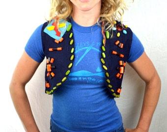 Vintage 1960s Camp Fire Girls Beaded Felt Vest