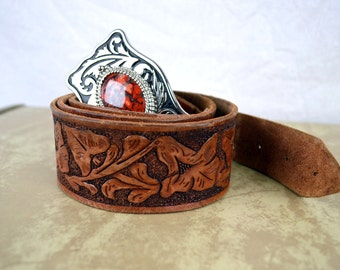 Gary's Vintage Western Floral Personalized Tooled Leather Belt