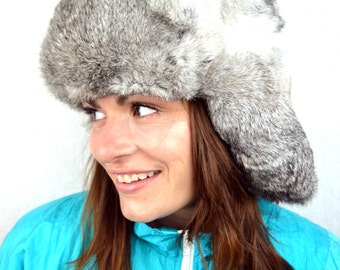 Vintage Gray Rabbit Fur Winter Bomber Hat with Flaps