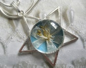 Star Of Bethlehem Blossom Atop Soft Glowing Blue-Star Pendant-Nature's Art-Gifts Under 30-Symbolizes Purity,Continued Happiness,Hope
