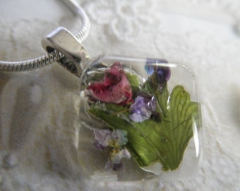Purple Alyssum,Pink Heather,Frosted Ferns Pressed Flower Small Square Glass Pendant-Gifts Under 22-Symbolizes Worth Beyond Beauty