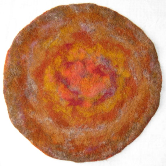 Yellow-red-brown needle felted tablecloth coaster doily, two-sided