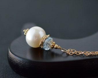 Large Pearl Pendant / Blue Topaz Pendant / Gold Pearl Pendant / Single Pearl Pendant / Blue Gemstone Pearl Pendant Necklace