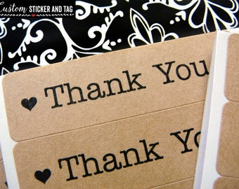 68 thank you rectangular stickers with four different fonts, thank you labels, favor stickers, envelope seals, wedding stickers (S-09)