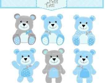 ON SALE teddy bear clip art - teddy bear clipart, Digital clip art, Teddy bears 4, stitch BlueTeddy bear, baby blue and grey, Instant downlo