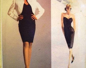 vogue american designer pattern 2050 - calvin klein jacket and dress - (1988) - UNCUT