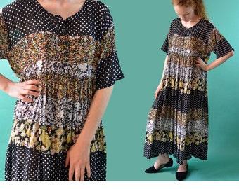 Vintage Ethnic Dress / Sheer Crinkled Gauze Maxi Dress / 80s Floral Gauze Ethnic Hippie Dress / Empire Waist Oversized Boho Dress S / M / L