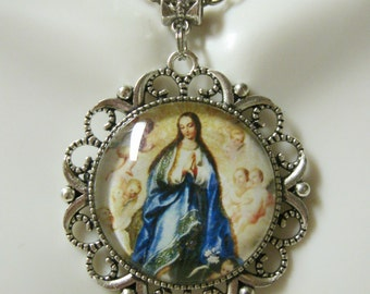 Immaculate conception pendant and chain - AP25-048