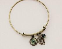 Peacock Bangle Charm Bracelet in Antique Brass