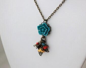 Teal Sakura Flower Charm Necklace