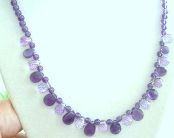 Faceted Amethyst Stones Necklace 925 Sterling Clasp