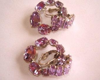 Vogue  Light Amethyst Rhinestone Clip Earrings