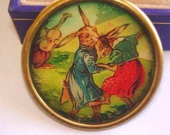 Dancing Rabbits Brooch KL Design