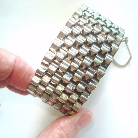 How To Basket Weave Bracelet : Vintage basket weave jewelry silver tone clasp by sanibelsands