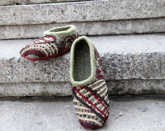 "Warm embroidered hand felted slippers in gray - ""Looking for warmth..."""
