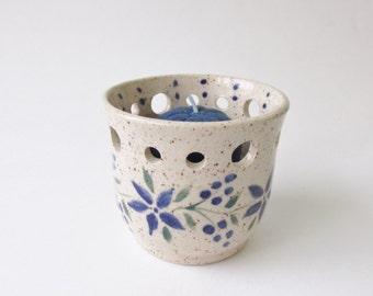 Pottery Votive, Ceramic Votive, Pottery Candle Holder, Tea Light Holder, Home Decor, Blue Candle Holder, Housewarming Gift, Shower Gift,
