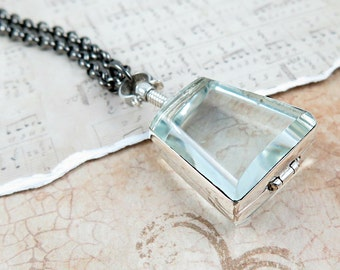 Antiqued Locket Necklace Glass Locket Pendant Trapezoid Pendant Sterling Silver Locket Geometric Jewelry Photo Locket Personalized Gift
