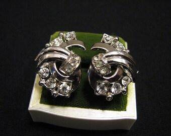 Vintage Silver Tone and Diamond Rhinestone Swirl Screwback Earrings