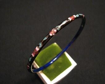 Vintage Cobalt Blue and Red White Cloisonne Enameled Dogwood Flower Bangle Bracelet