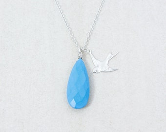 Silver Blue Turquoise Necklace with Flying Swallow - Charm Necklace